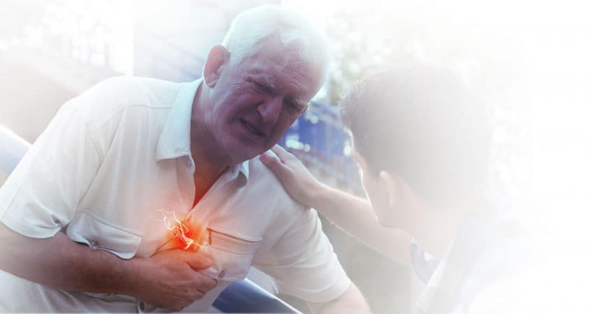 Old man suffers heart attack with grandson